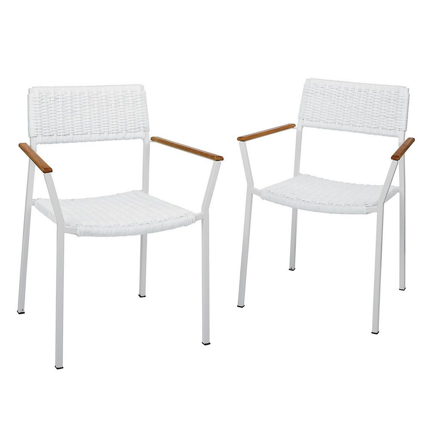 Stackable Metal Patio Chairs Ergonomic For Back Support Pair Of Outdoor Crafted With Powder Coated Frames Durable Solid Teak Armrests