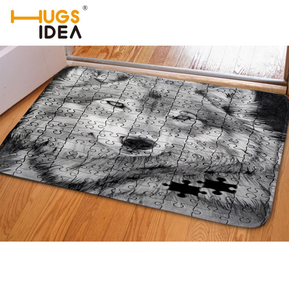 Hugsidea Funny Gray Wolf Flannel Carpet Water Absorption Rug Living Room Bedroom Porch Entrance Floor Door Mat Kitchen Rugs In Living Room Rugs On Carpet Rugs