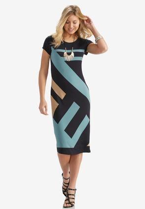 Mom Cato Fashions Geometric Print Midi Dress Plus Catofashions