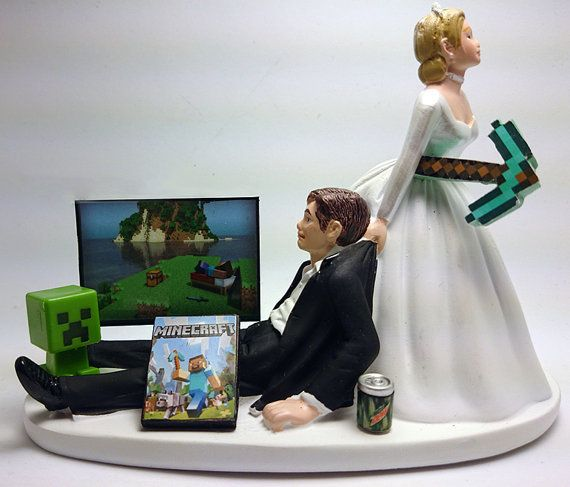 Minecraft Funny Wedding Cake Topper Bride and Groom https ...