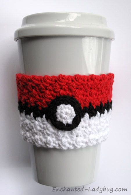 Free Crochet Poké Ball Coffee Cup Cozy Pattern Knitting