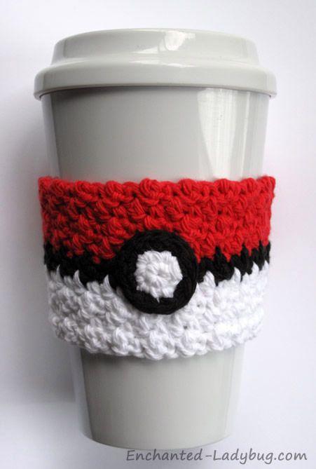 Free Crochet Pok Ball Coffee Cup Cozy Pattern Pinteres