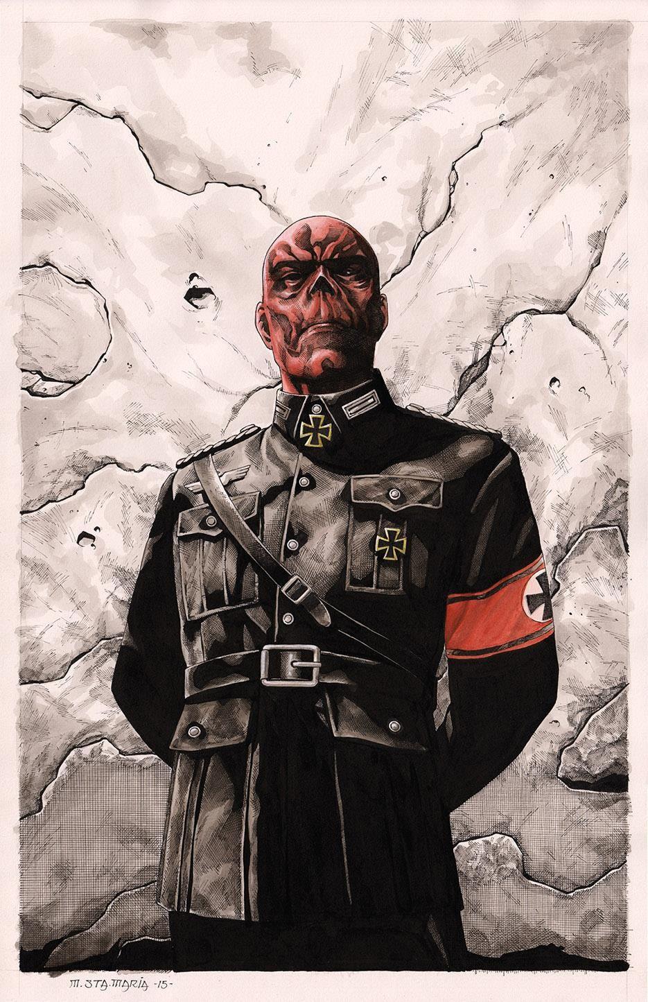 Red Skull Marvel Comics Original 11x17 Art Print signed by artist Scott Harben