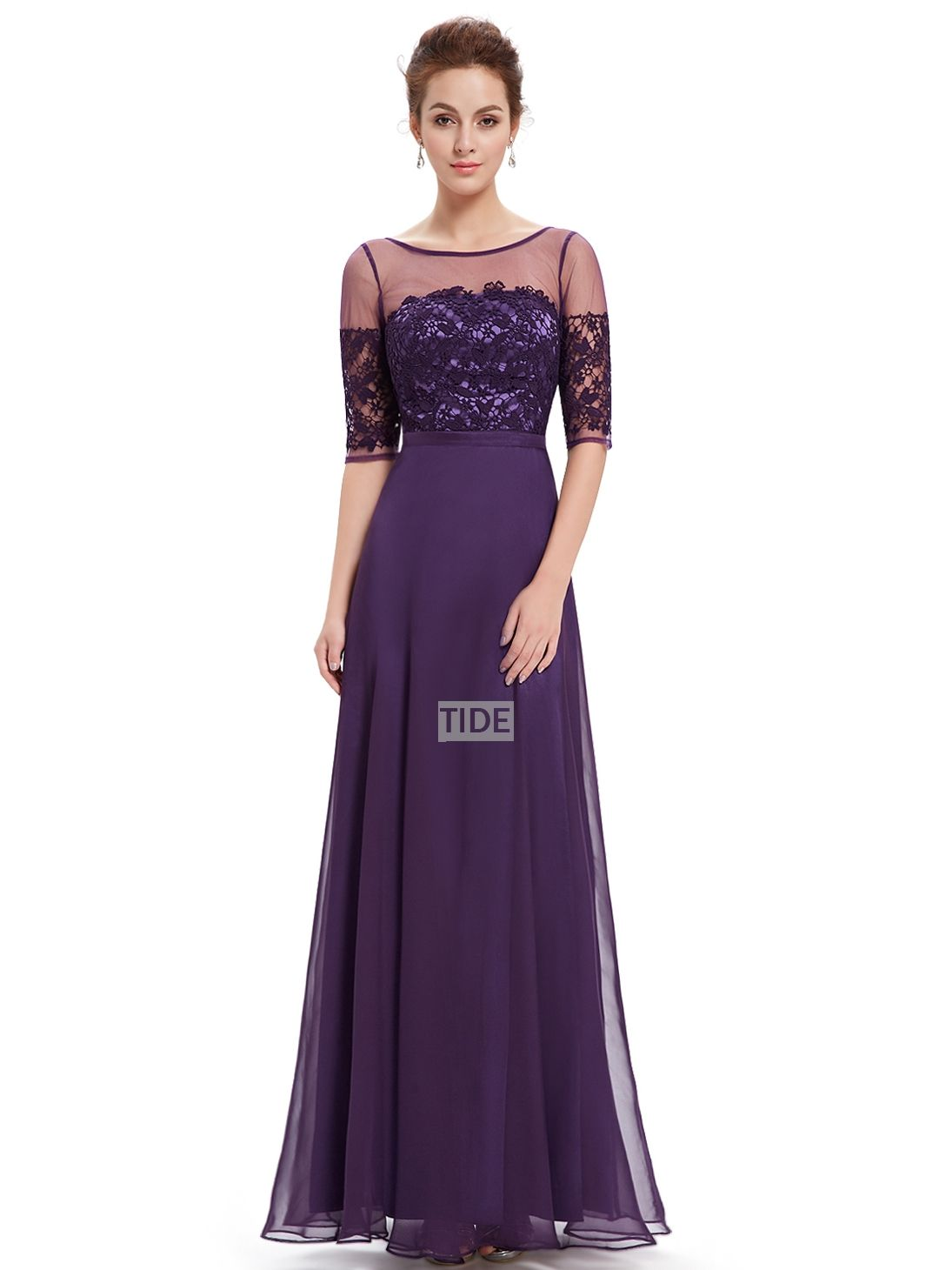 Purple Lace Sleeves V Back Sheath Cheap Chiffon Pretty Long ...