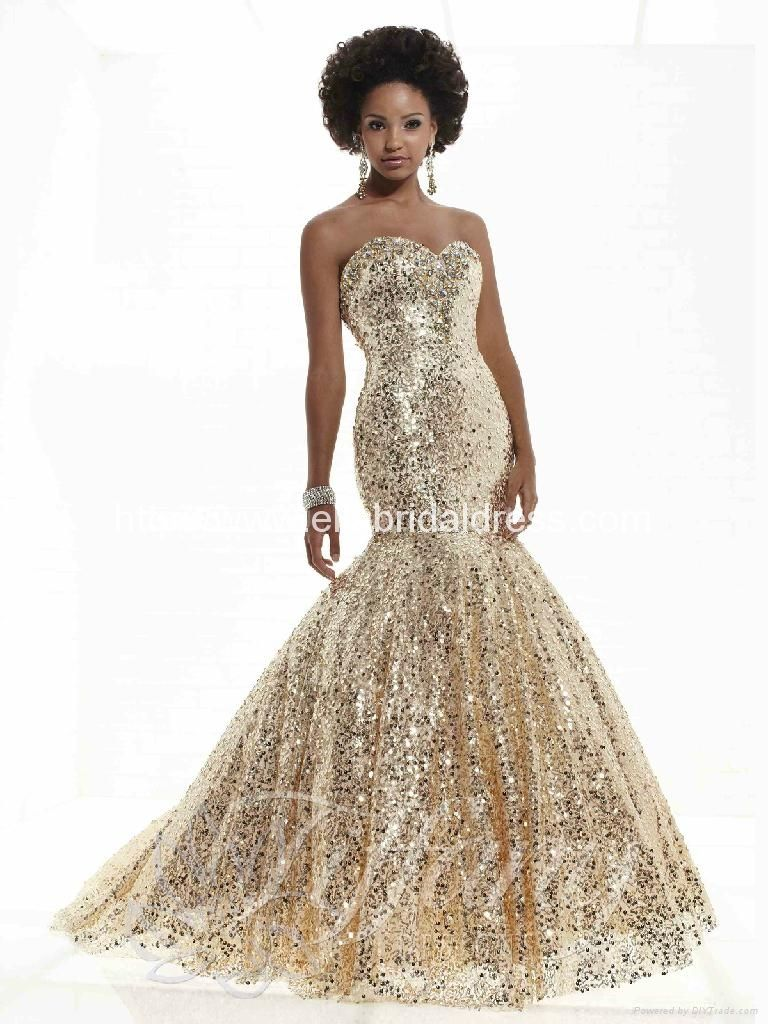 Gold Mermaid Prom Dresses | Stuff to Buy | Pinterest | Gold lace ...