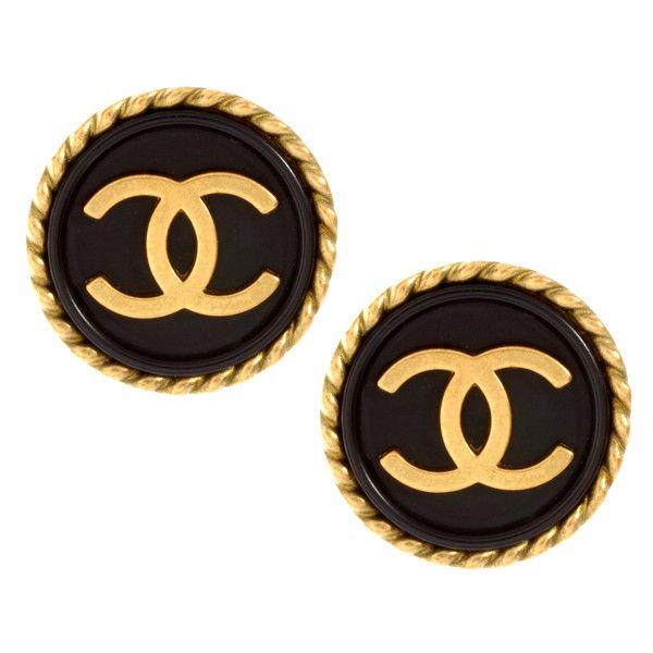 Susan Caplan Vintage Chanel 90s Enamel Stud Earrings ❤ liked on Polyvore