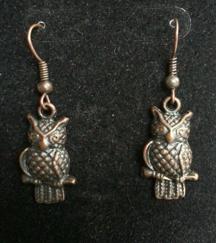 NWOT Handcrafted Copper Color Plated Owl Pendant Earrings! #Handmade #DropDangle