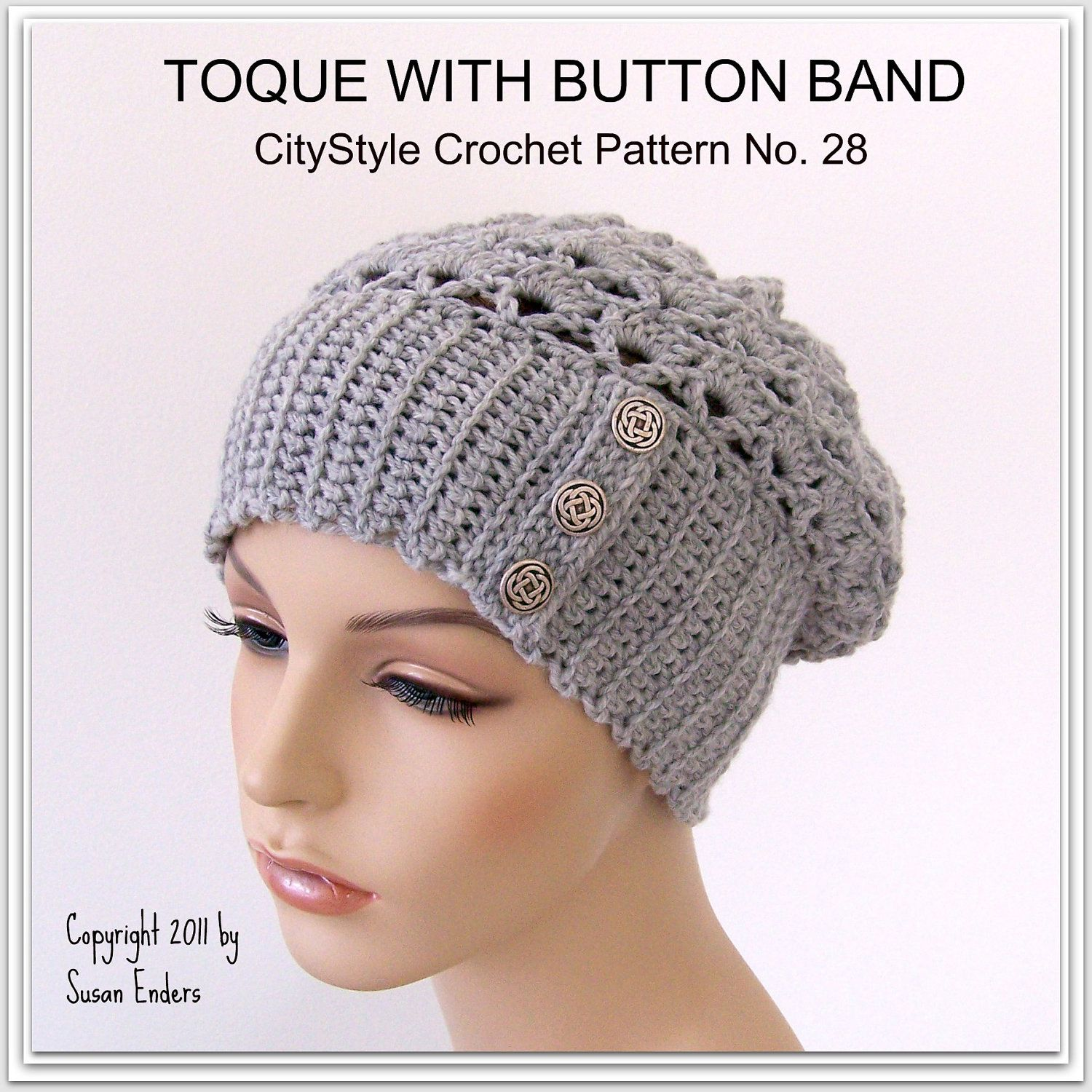 Crochet hat pattern for toque hat or earwarmer with button band crochet hat pattern for toque hat or earwarmer with button band sell what you make bankloansurffo Images