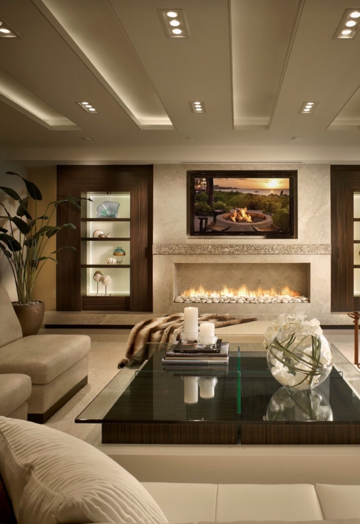 Linear fireplace design living room designs elegant - Modern fireplace living room design ...
