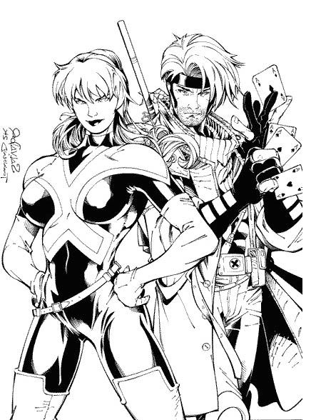 X Men Coloring Gambit Rogue Coloring Pages Super Heroi Colorir Herois
