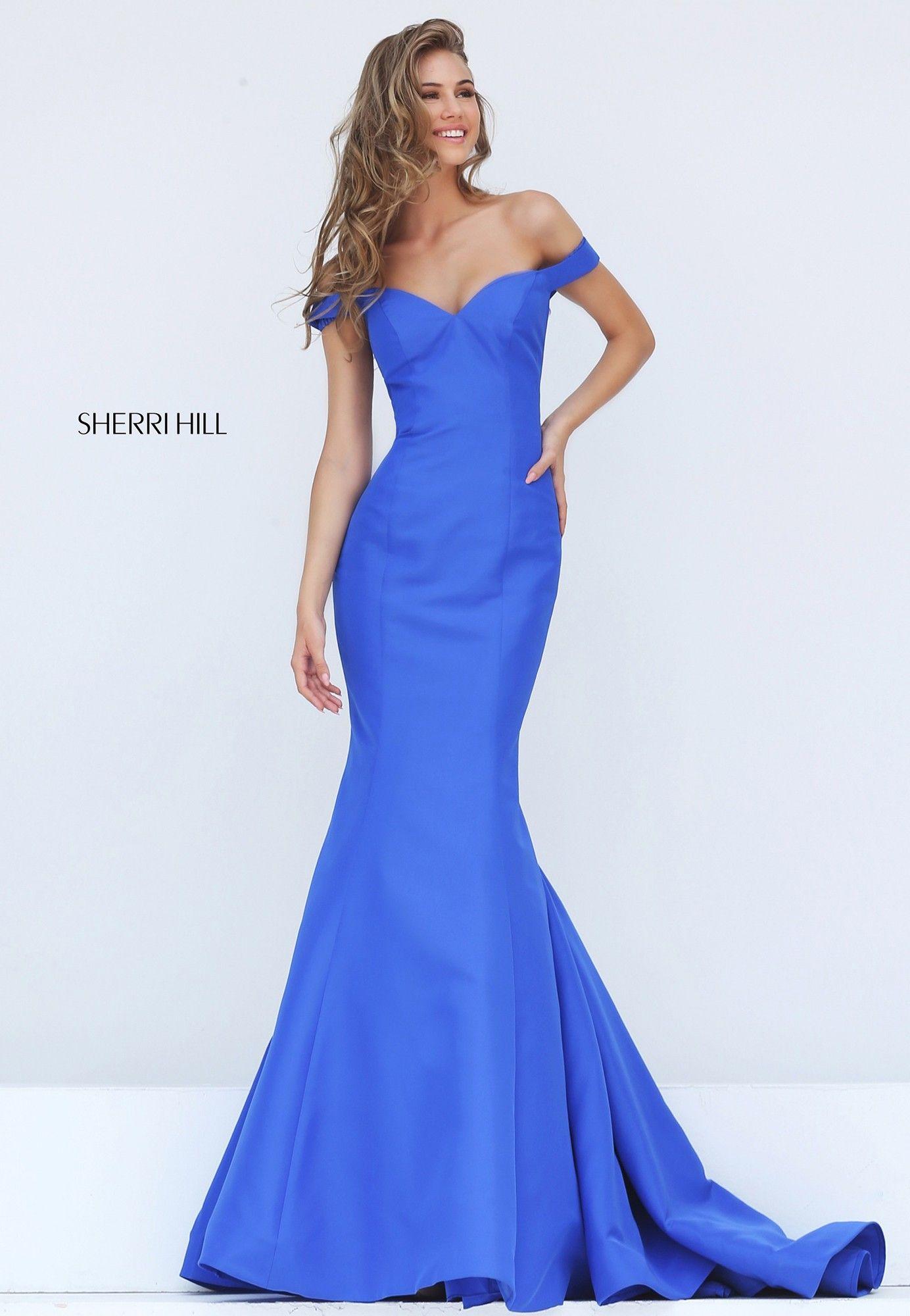 Sherri Hill 50823 Off Shoulder Fit & Flare Gown | Elegant gown ...
