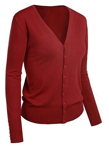 Emmalise Women's Classic V-Neck Button Down Cardigan Sweater Small to XL ** Check out this great item.