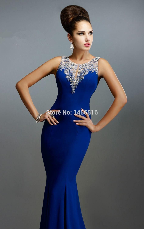 Royal blue mermaid evening dress crew beaded pivot backless