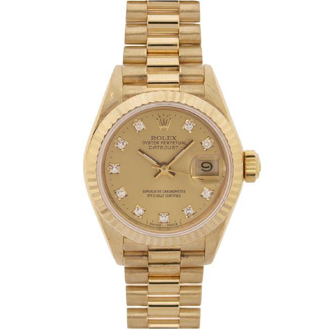 Rolex Women's Date-just President 18kt Gold Champagne Diamond Dial Watch