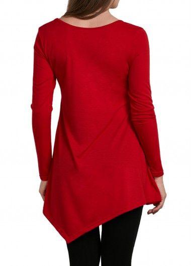 36da1379320e V Neck Asymmetric Hem Red T Shirt