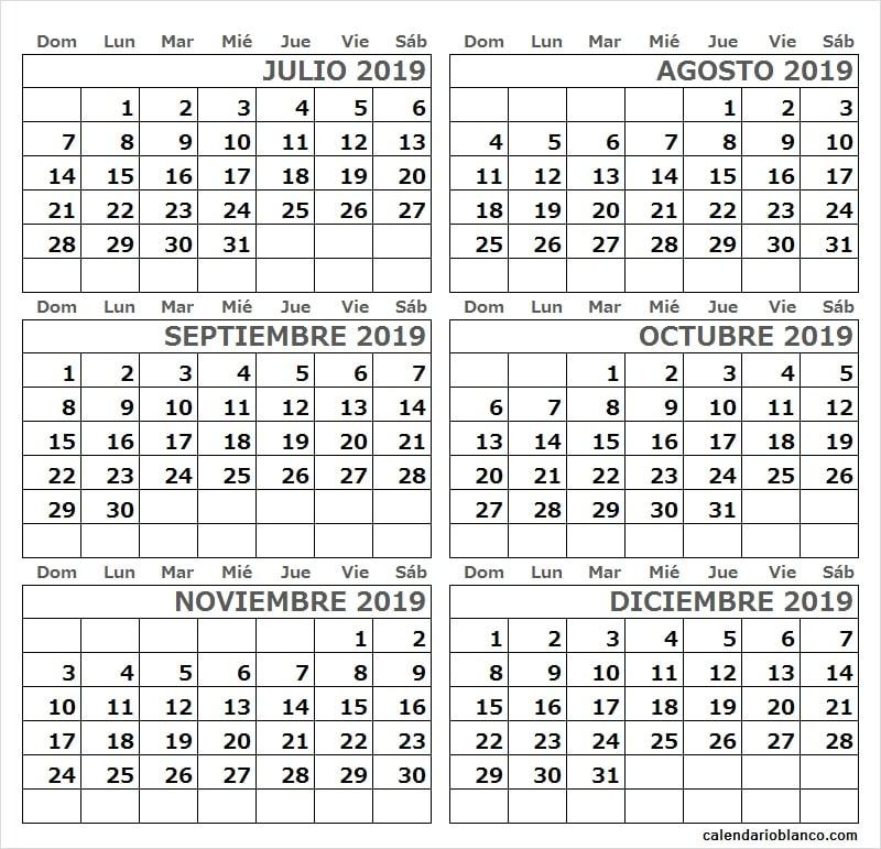 Calendario 2019 Julio Agosto Y Septiembre.Calendario Julio Agosto Septiembre Octubre Noviembre Y
