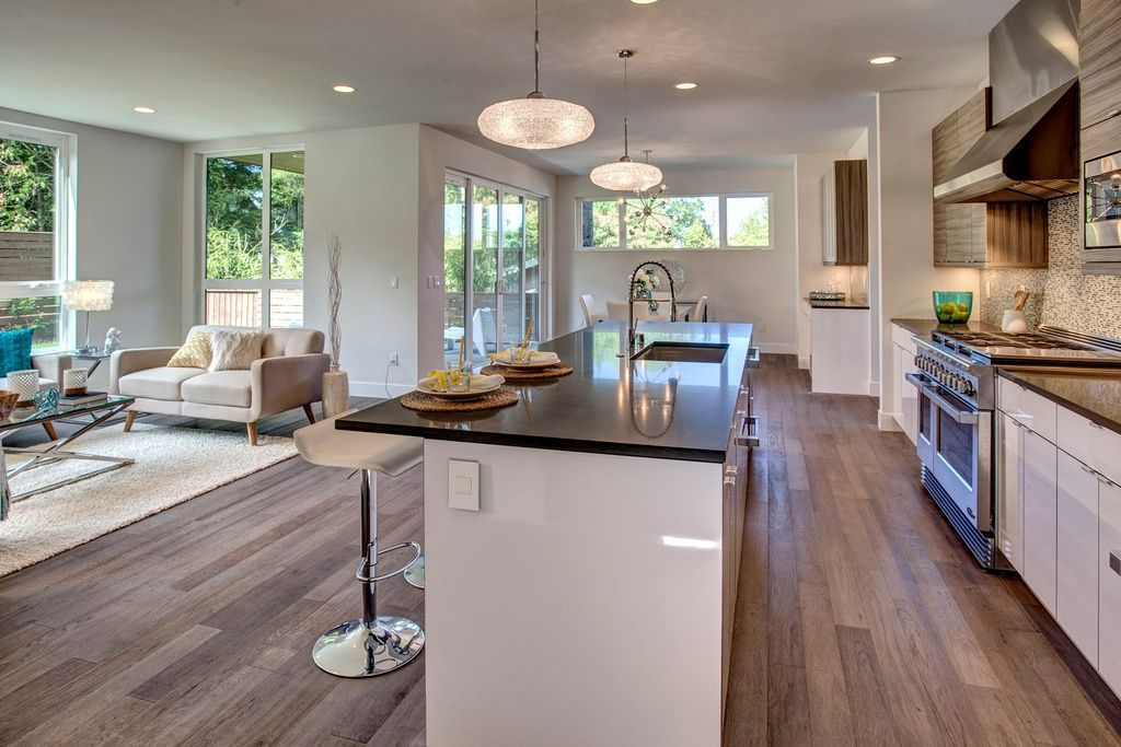 Modern Kitchen With Wall Hood European Cabinets Ceramic Tile Magnificent Modern Kitchen Nook Decorating Inspiration