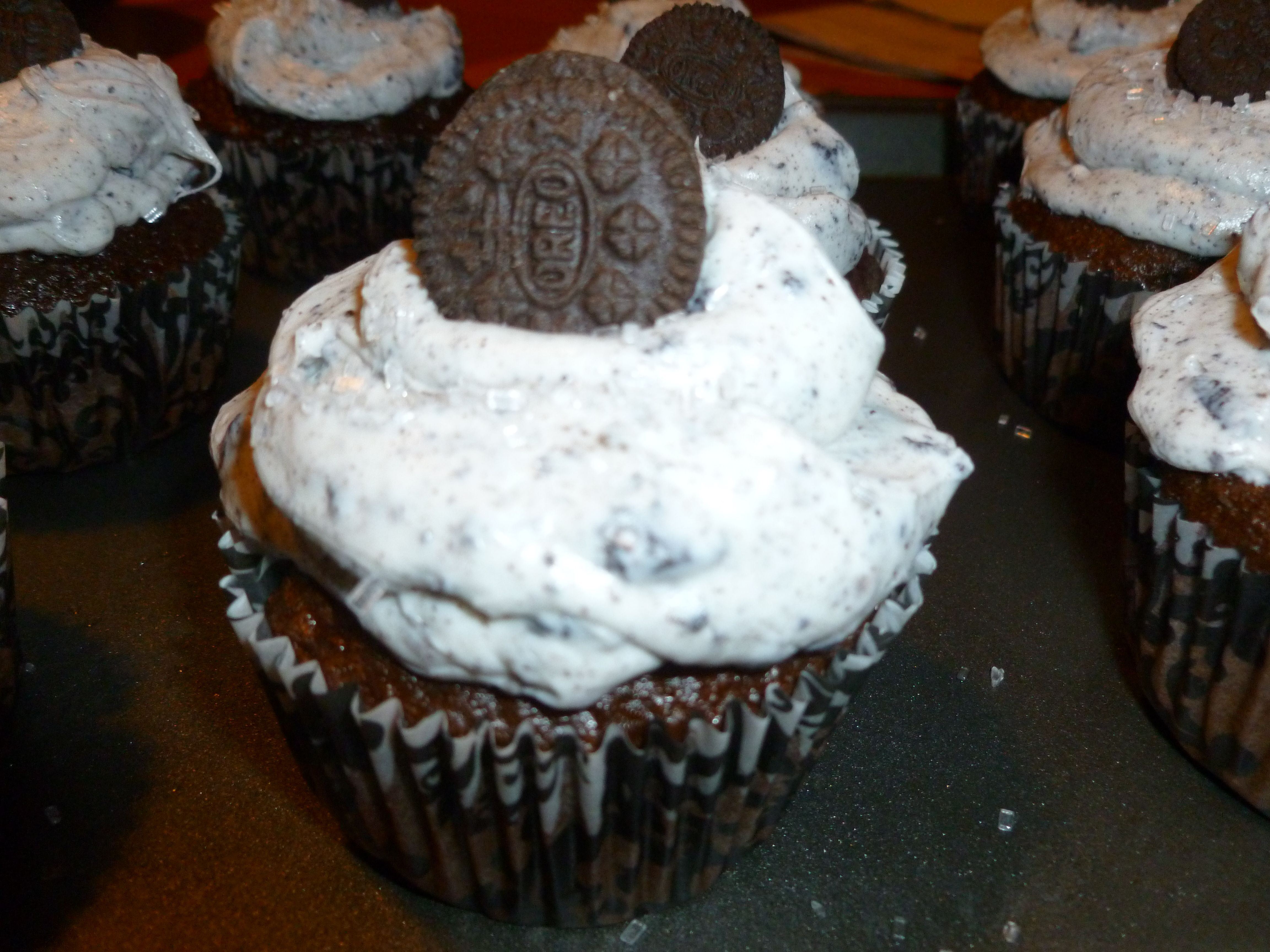 Oreo Cupcakes Used chocolate cake mix Added crushed oreos to