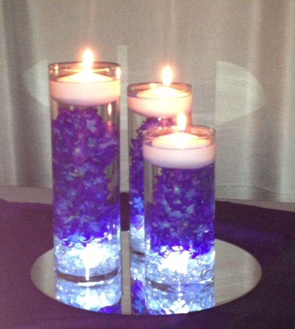 Flowers And Floating Candle Centerpieces With Led Lighting: Submerged Purple Flowers With Led Lights In The Bottom And