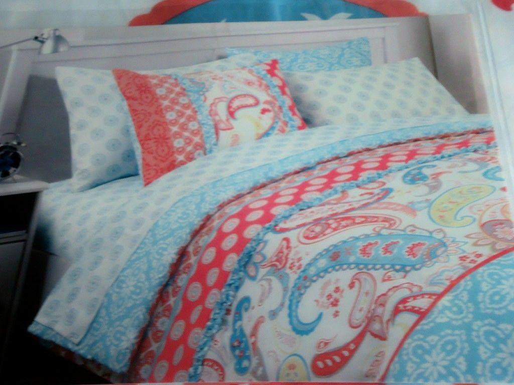 Cynthia Rowley Coral, Aqua Blue & White Paisley floral 2p Twin ... : cynthia rowley quilt twin - Adamdwight.com