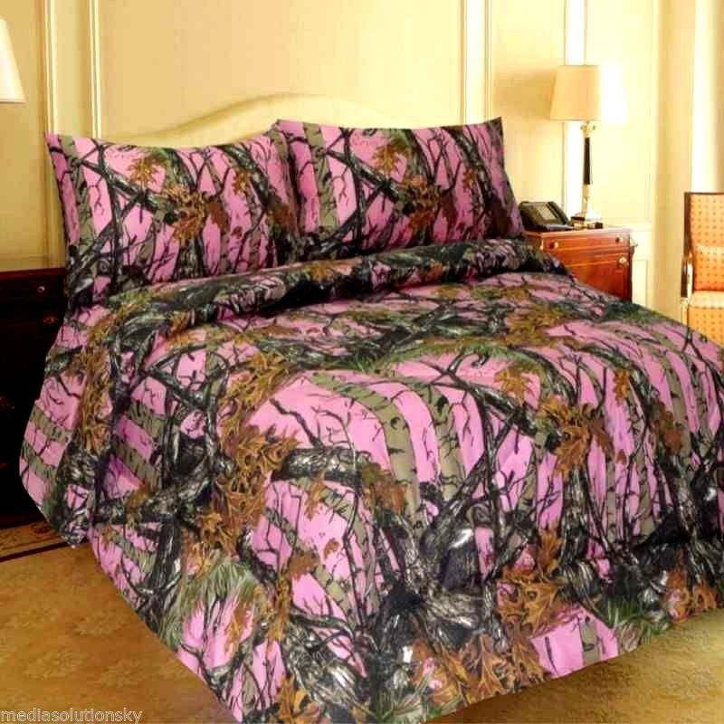 Bed In A Bag Pink Camo Comforter Pillowcases Sheets Full