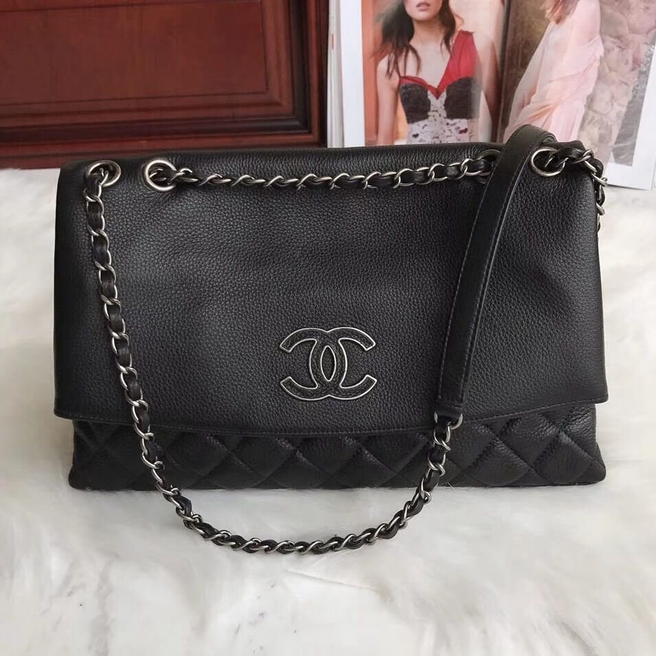 80b594422384 Chanel Extra Mini Classic Flap Bag in Quilting Lambskin Storm Blue 2018. Chanel  Quilting Calfskin Flap Bag Black 2018