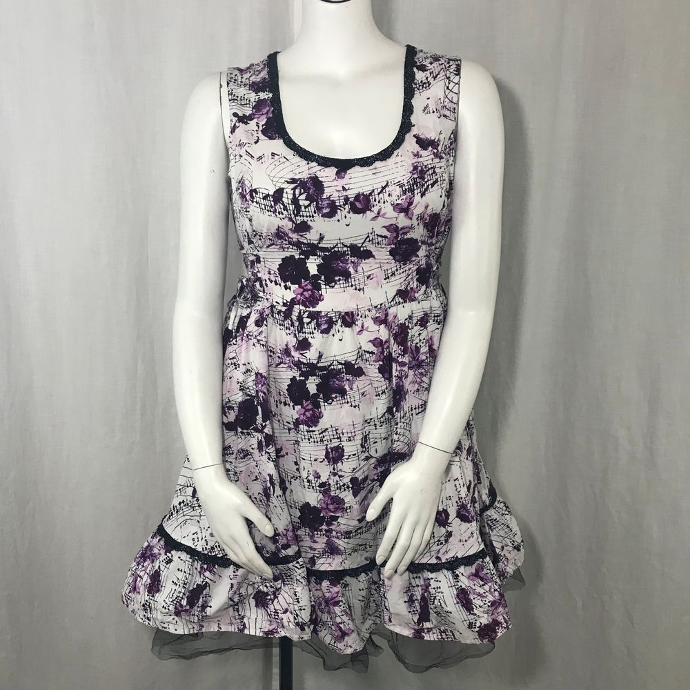f39966251395 Sleeveless Retro Swing Dress XXL White Purple Black Roses Music Notes Lace  Pinup  HotTopic  FitFlareDress