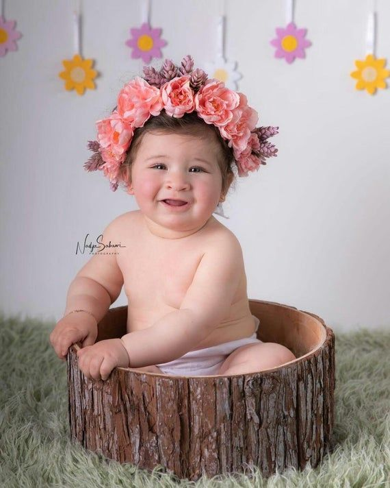 Flower Crown Headband, Baby Tieback Headband, Girls Flower Crown, Flower Girl, Photo Prop,Baby Flower Crown, pink purple flower headband #crownheadband
