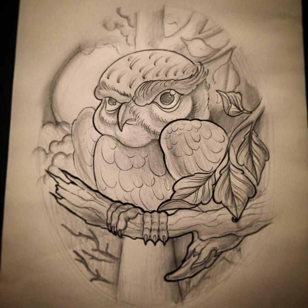 New School Owl Tattoo Drawings tattoos by larry lockwood ...