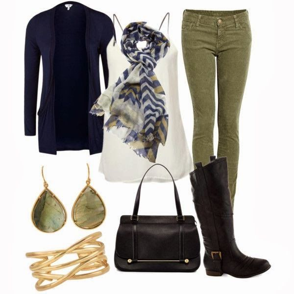 Olive Green Pants Blue Cardigan Black Boots Outfit | My Style | Pinterest | Black boots outfit ...