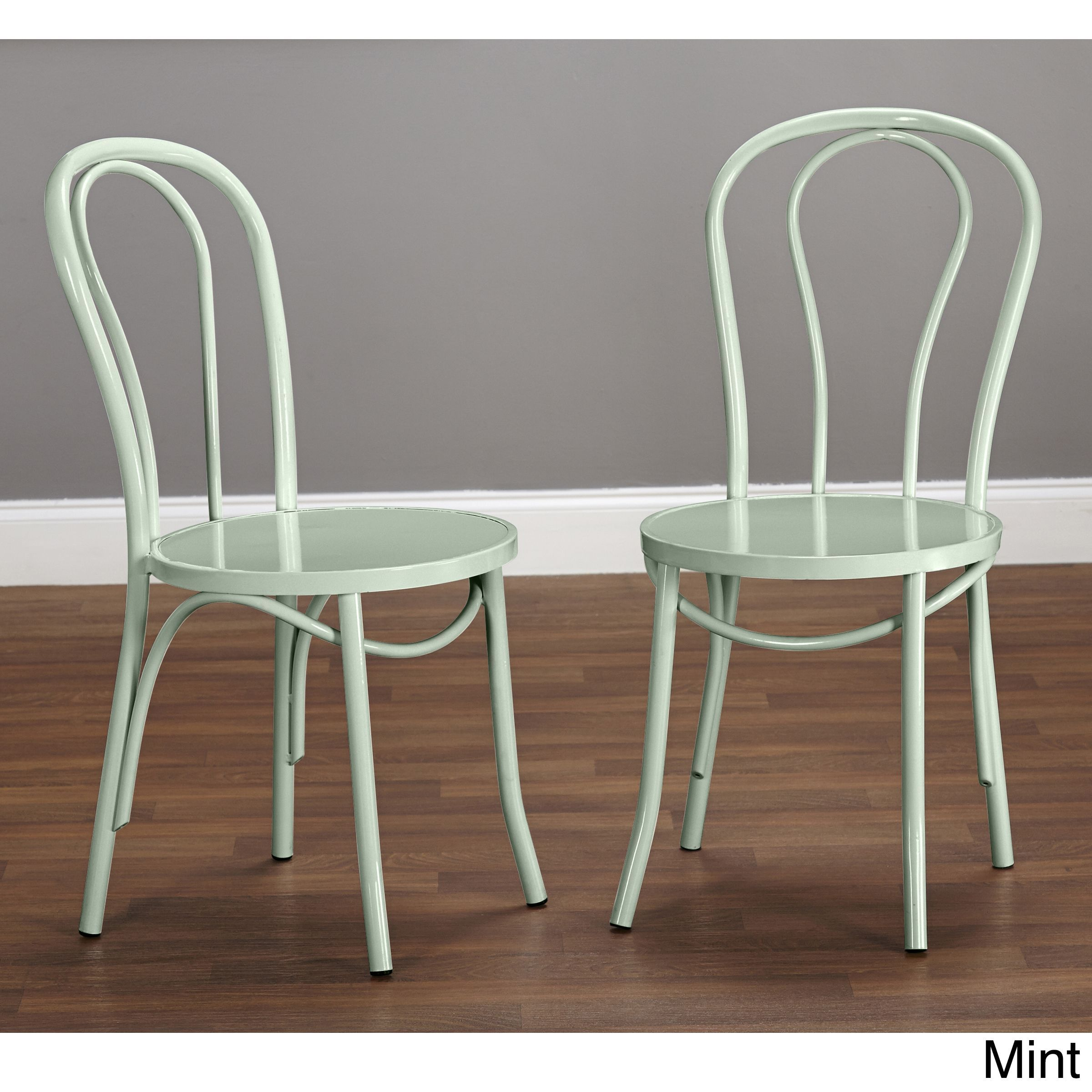 Simple Living Vintage Inspired Cafe Chairs Set Of 2 Mint Green Metal