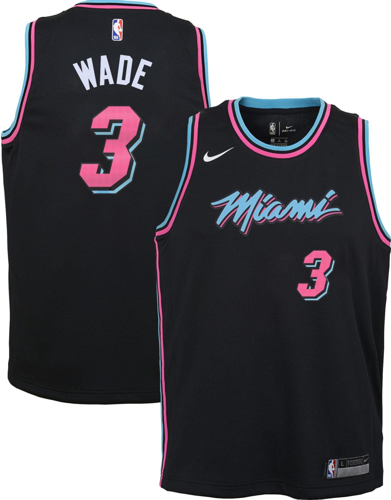 Nike Miami Heat Dwyane Wade Vice City Nights Authentic Jersey Black Pink Mens 58 | eBay
