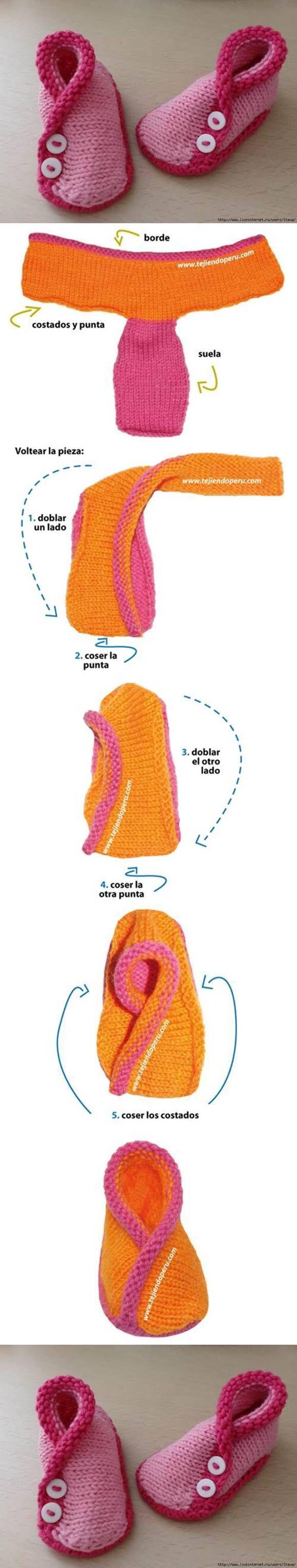 DIY Adorable Knitted Kimono Baby Booties | Babyschühchen, Stricken ...