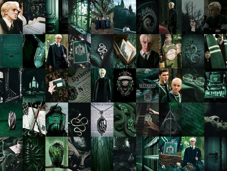 Slytherin Harry Potter Aesthetic Wall Collage Kit Draco Etsy Harry Potter Room Decor Slytherin Harry Potter Harry Potter Aesthetic