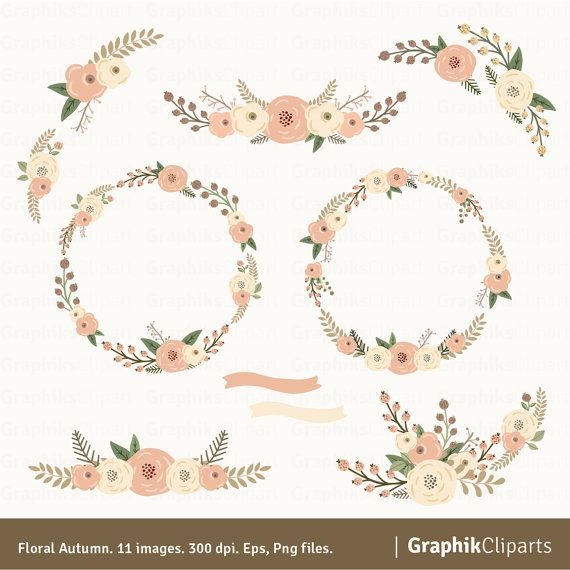 Floral Autum Wreaths Clipart Rustic Flowers Wedding 11 Images 300 Dpi Eps Png Files Instant Download