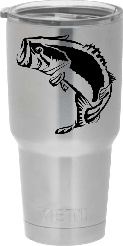Show your love for bass fishing with this bass decal sticker for yeti rambler