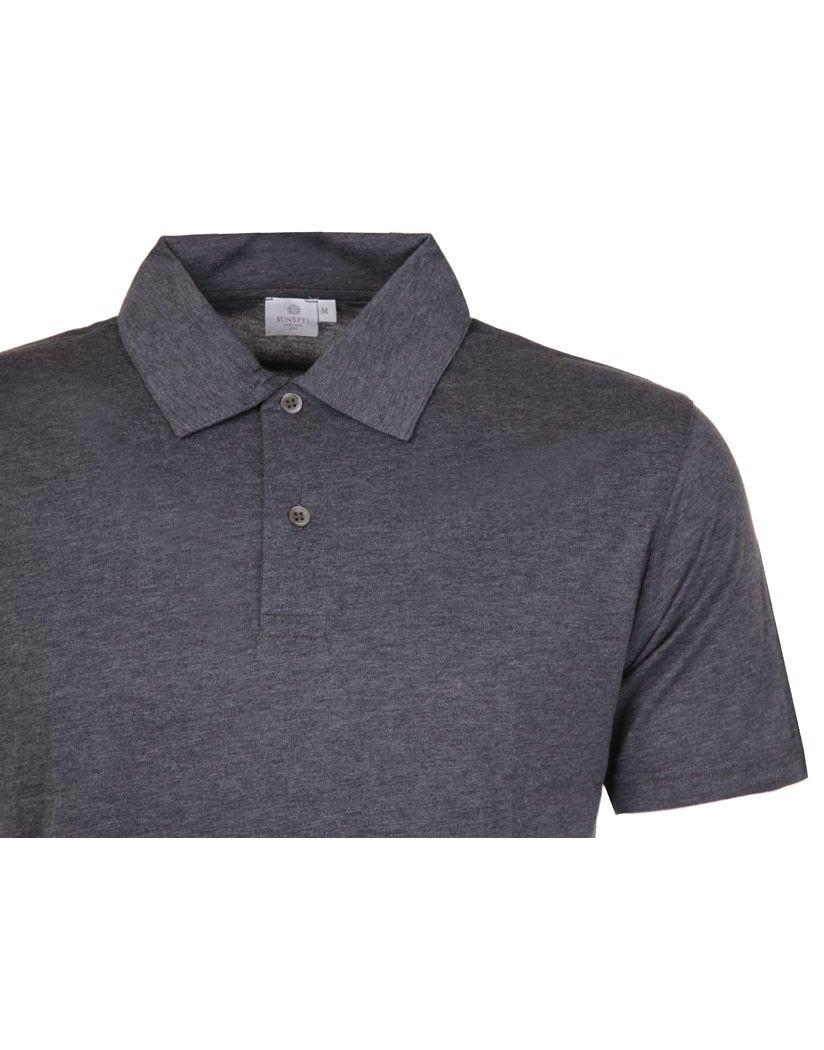 14cec8c7 Sunspel Men's Short Sleeve Jersey Polo Shirt - Charcoal | Sunspel ...