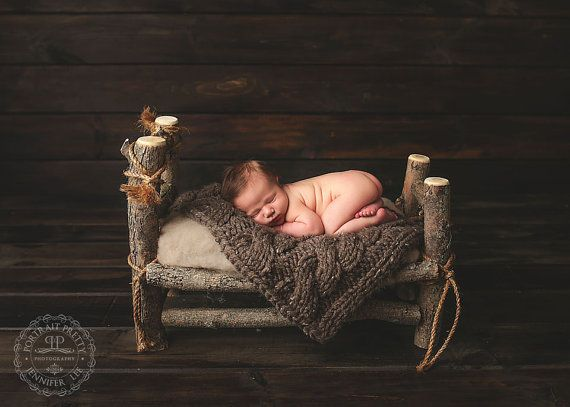Delux real wood unique newborn baby doll log bed photo photography prop