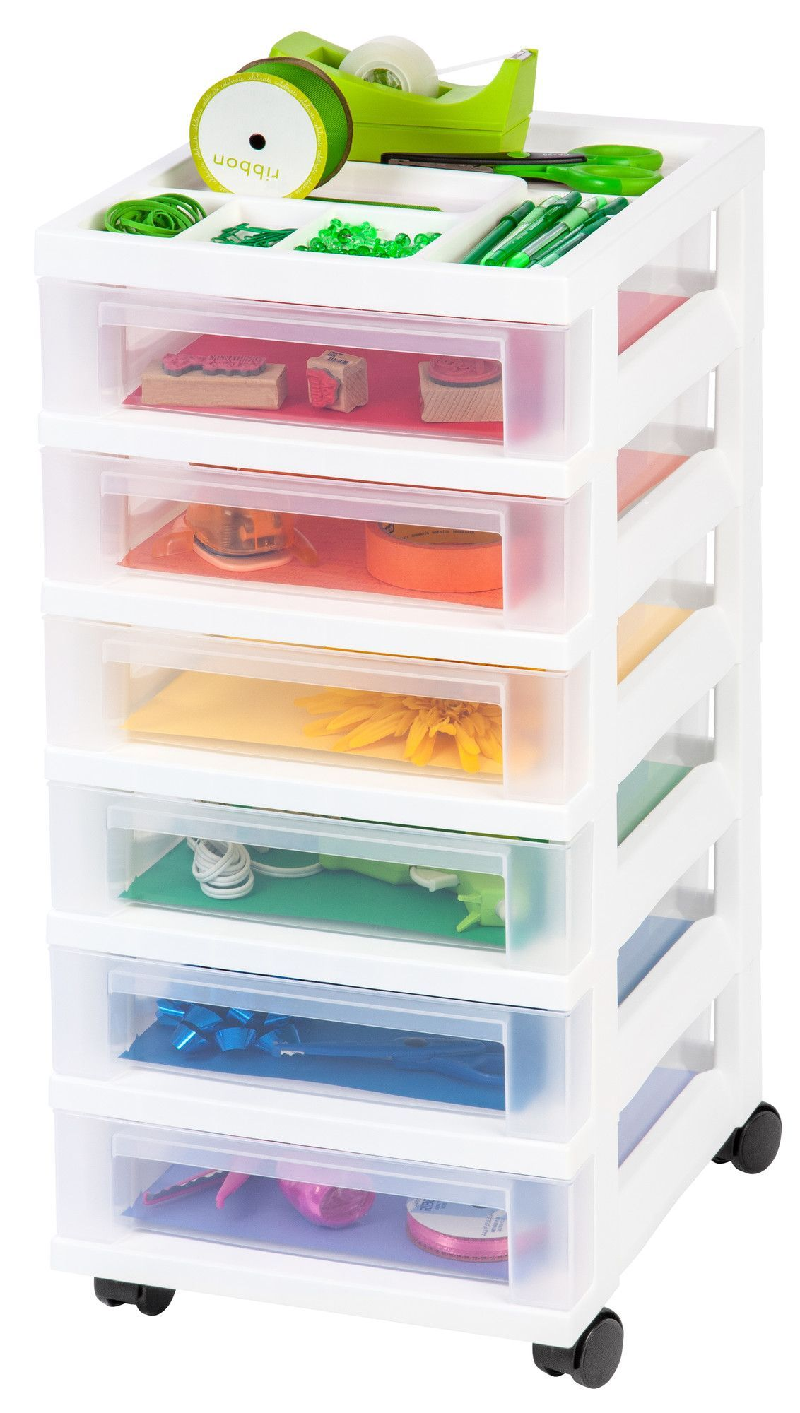cart drawers plastic drawer clear four white rimax storage pin rolling