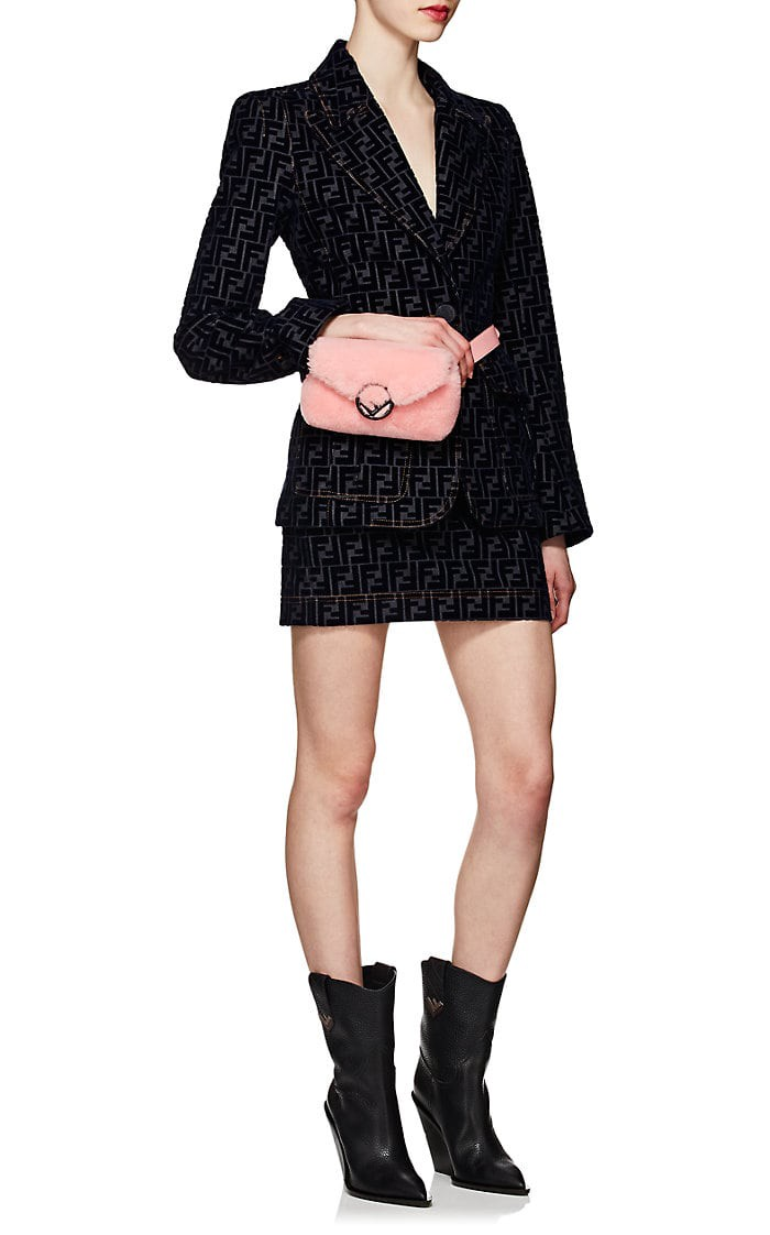 9657a4fa04 Fendi Shearling Belt Bag - Pink 1 Sz Grey