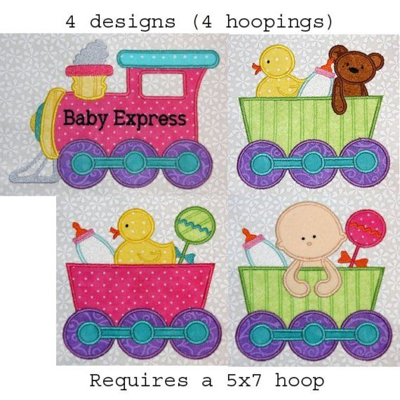 BABY Train set of 4 designs Applique Embroidery by simpleasures, $16.00