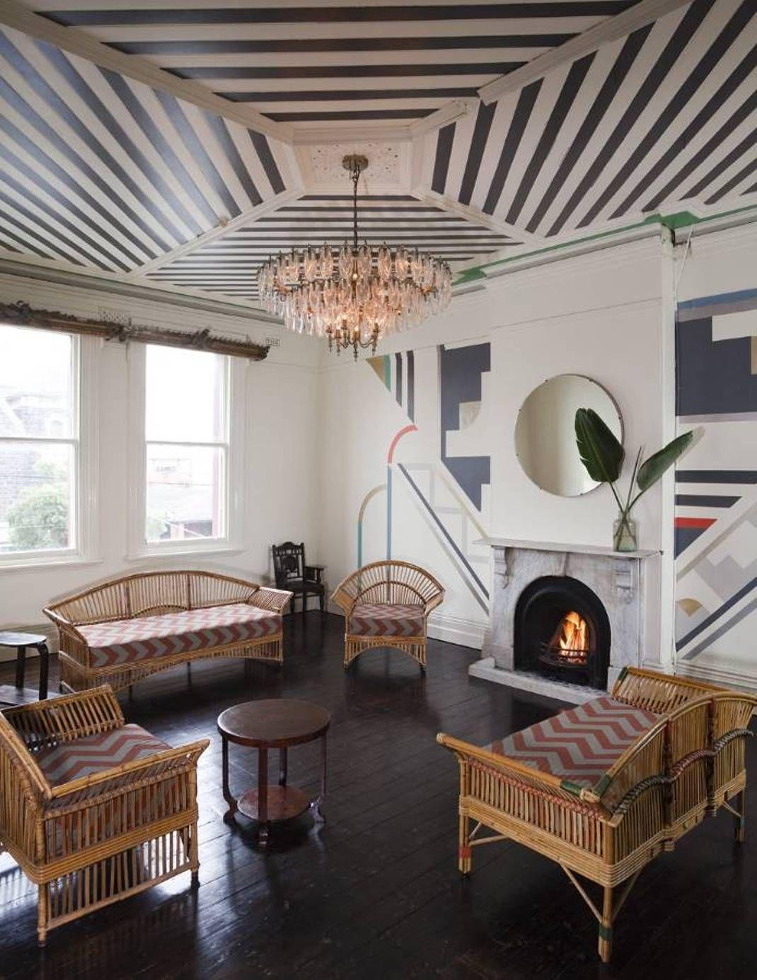 Home Design And Decor Interior Ceiling Ideas Art Deco Living Room With Striped