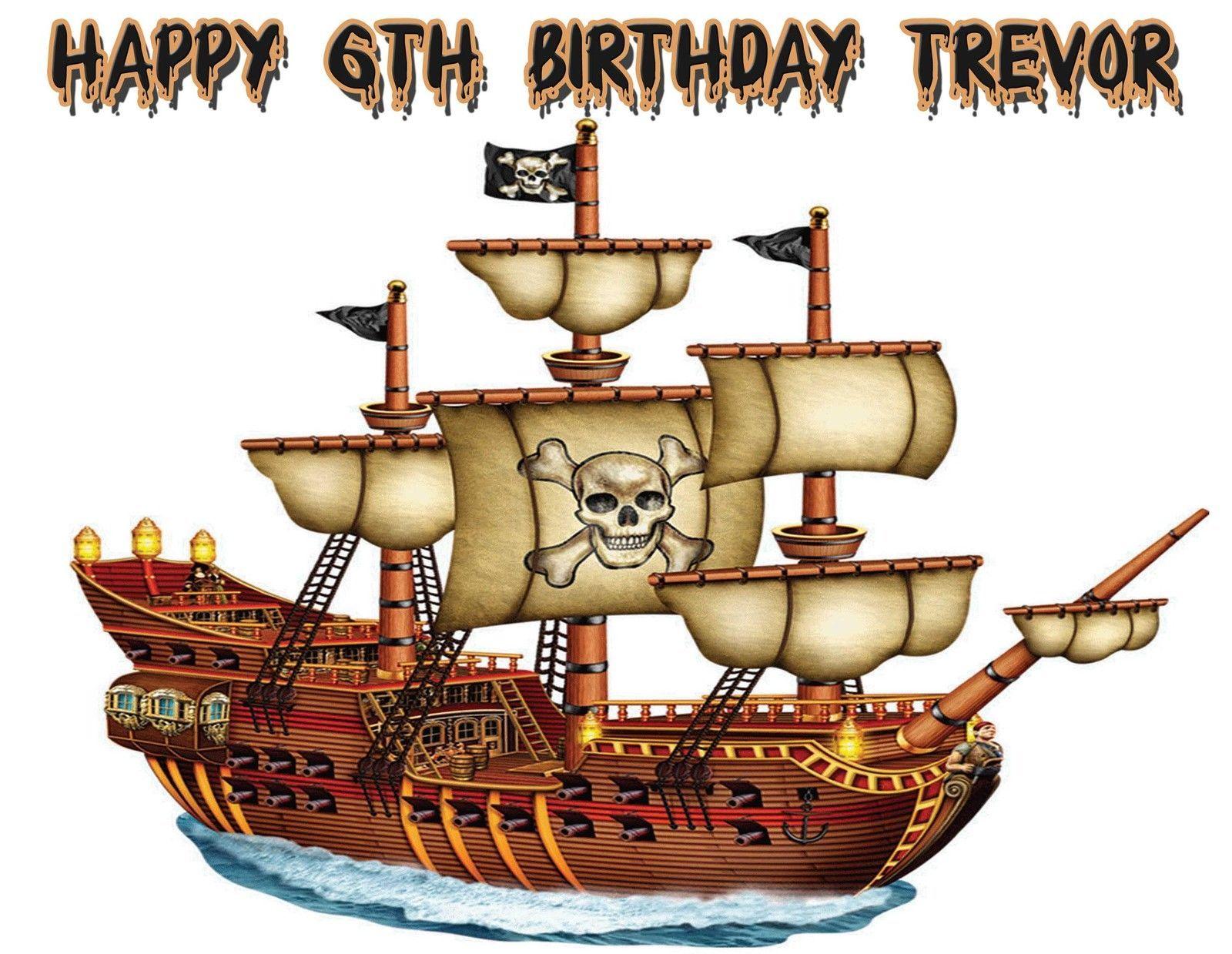 Custom Pirate Ship Treasure Map Theme Edible Image Cake
