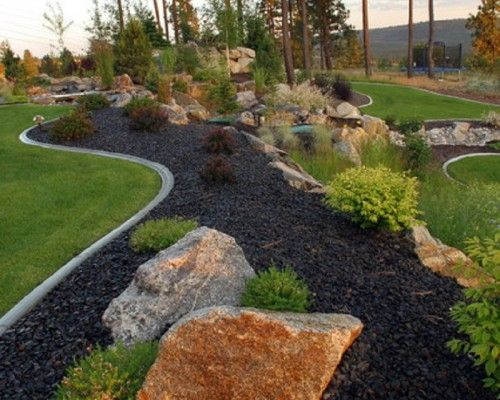 black rock landscape | cozy traditional black garden patio ... - Rock Garden Patio Ideas