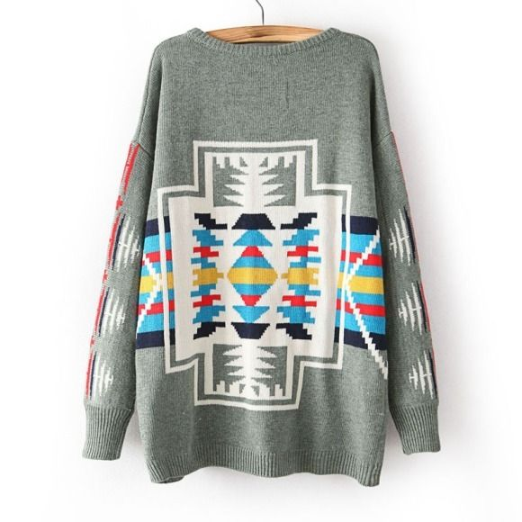 new style retro geometric thickened round neck jumper