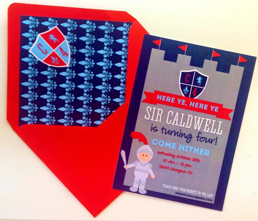 Blue and red knight birthday party invitation! Includes a custom ...