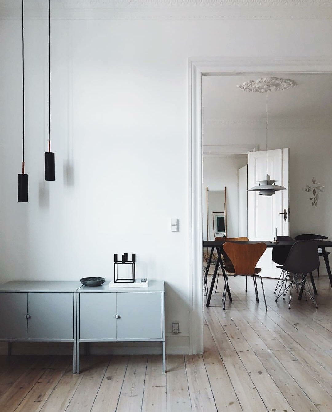 By Pernille Baastrup. IKEA sideboard, epj pendant lamps