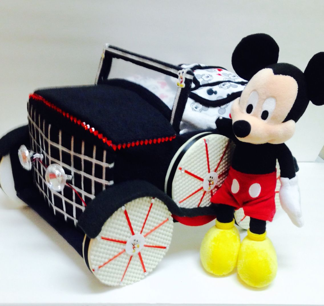 Mickey mouse antique car diaper car mom loves mickey