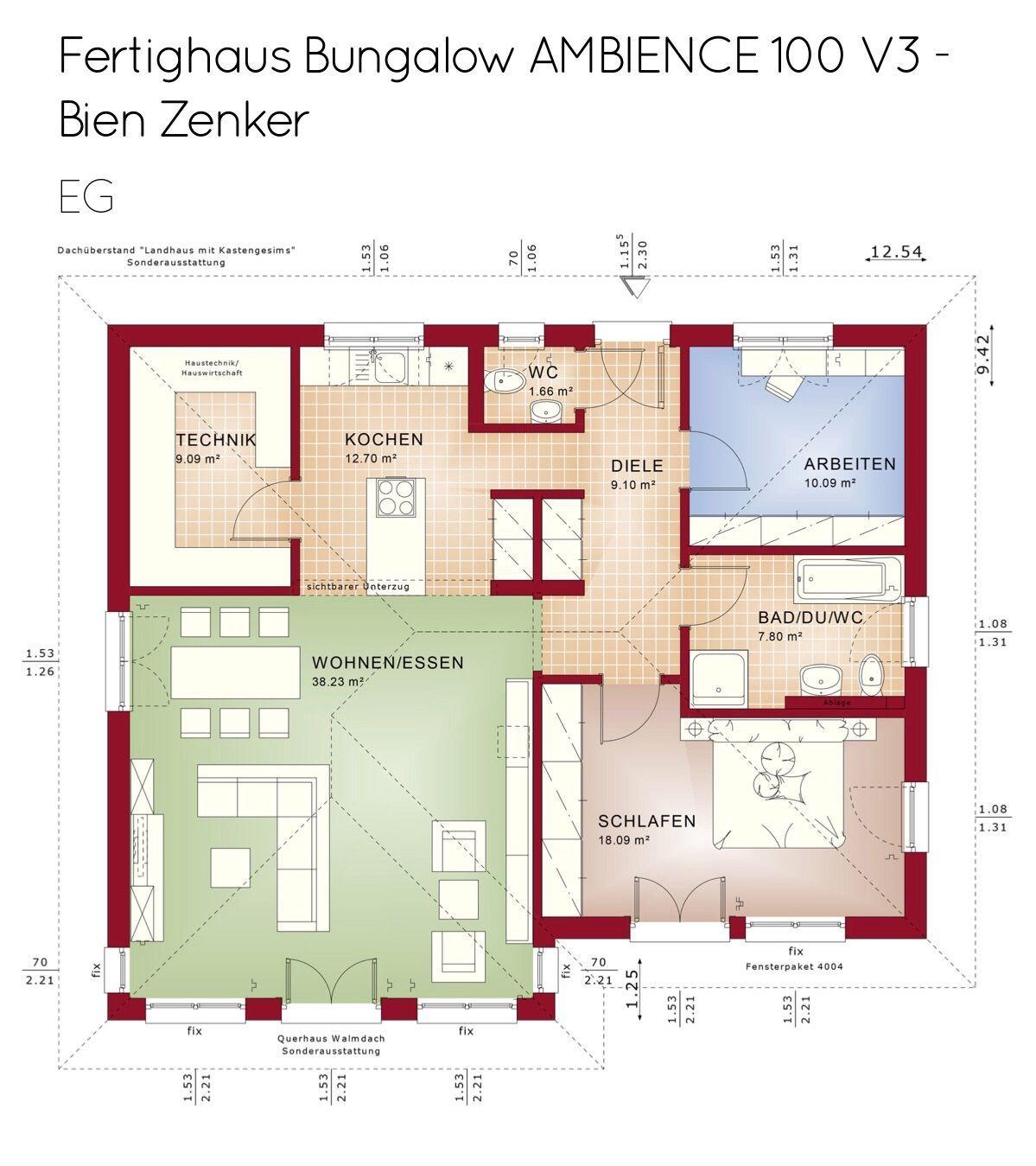 Bungalow Haus Grundriss rechteckig mit Walmdach