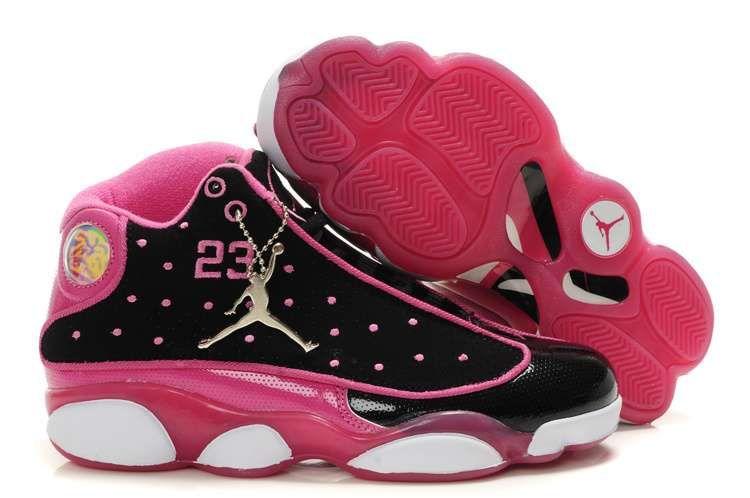 b229f4bebe1359 Women Air Jordan 13 (XIII) Black Pink